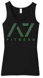 A7 Fitness Bar Grip Womens Tank Top Black-Green