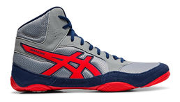 Asics Snapdown 2 wrestling shoe, Stone Grey - Classic Red