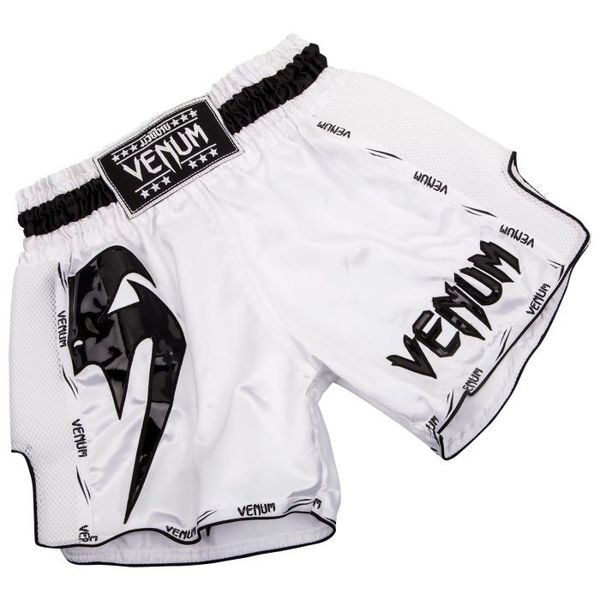 Black//Red Venum Mens Giant Muay Thai Shorts